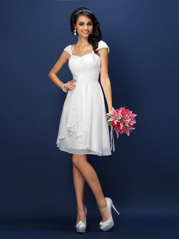 A-Line/Princess Straps Sleeveless Short/Mini Chiffon Bridesmaid Dresses with Pleats
