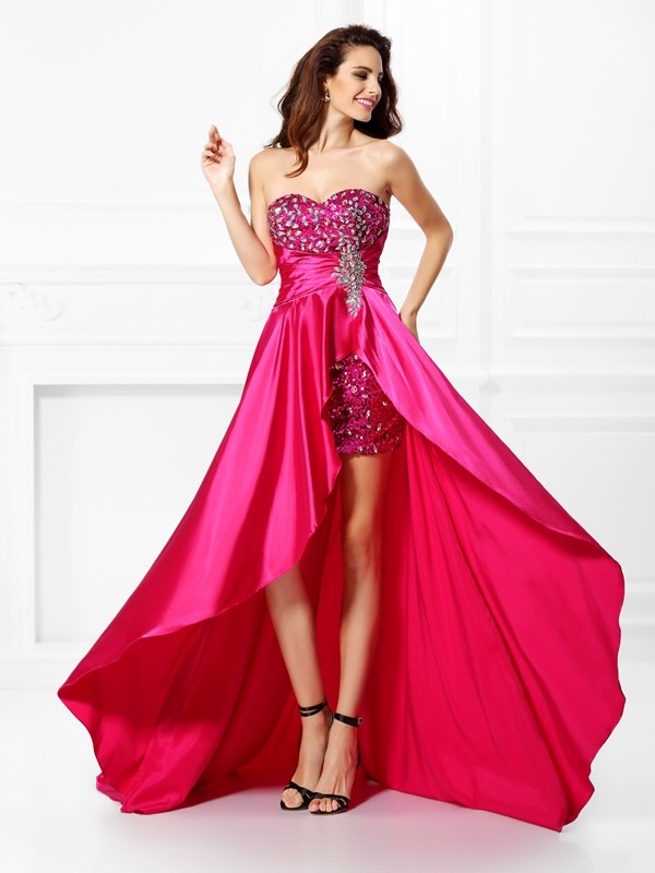 A-Line/Princess Sweetheart Sleeveless Paillette Asymmetrical Elastic Woven Satin Prom Dresses with Beading