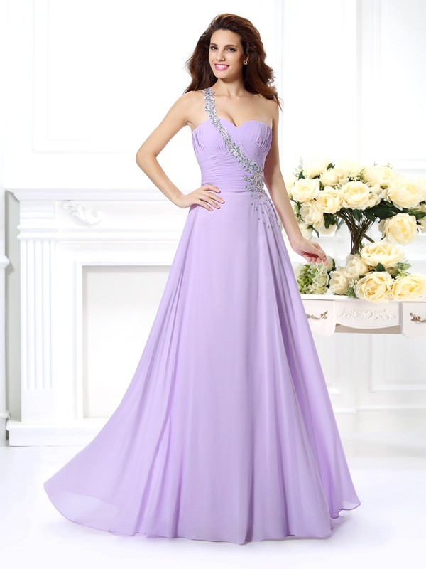 One-Shoulder Sleeveless Floor-Length Chiffon Prom Dresses with Beading