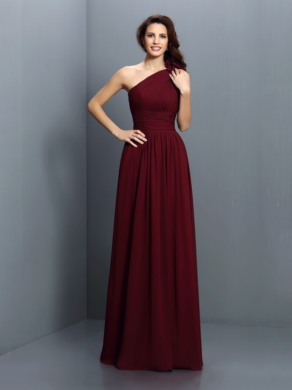A-Line/Princess One-Shoulder Chiffon Long Bridesmaid Dresses with Pleats