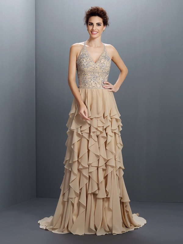 A-Line/Princess V-neck Sleeveless Sweep/Brush Train Chiffon Prom/Evening Dresses with Beaded