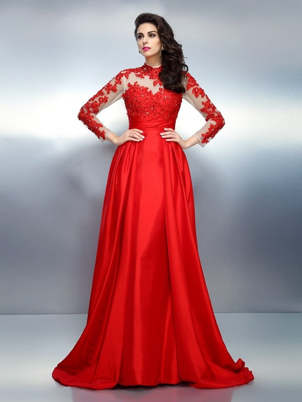 A-Line/Princess High Neck Long Sleeves Sweep/Brush Train Satin Evening/Formal Dresses with Applique