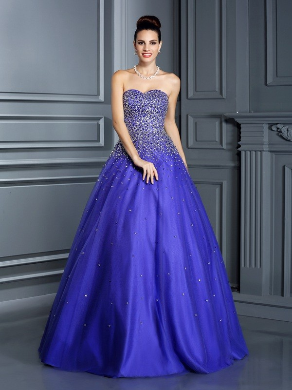 Ball Gown Sweetheart Sleeveless Floor-Length Net Quinceanera Dresses with Beading