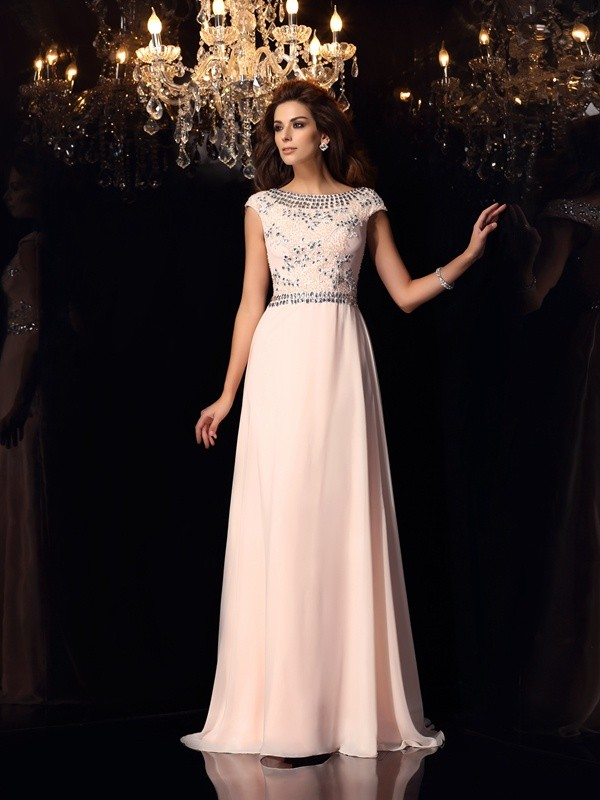 A-Line/Princess Bateau Short Sleeves Floor-Length Chiffon Dresses with Beading