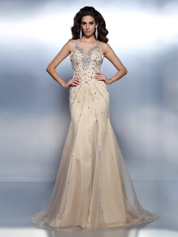 Trumpet/Mermaid Spaghetti Straps Sleeveless Sweep/Brush Train Organza Prom/Evening Dresses with Beading