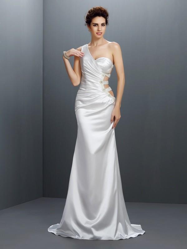 Trumpet/Mermaid One-Shoulder Sleeveless Sweep/Brush Train Elastic Woven Satin Prom Dresses with Beading