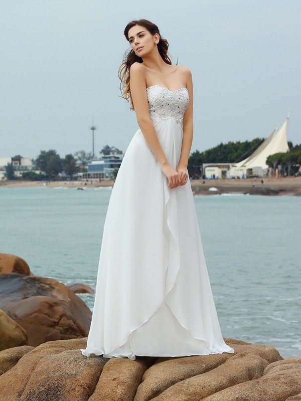 A-Line/Princess Sweetheart Chiffon Sleeveless Floor-Length Beach Wedding Dresses with Beading