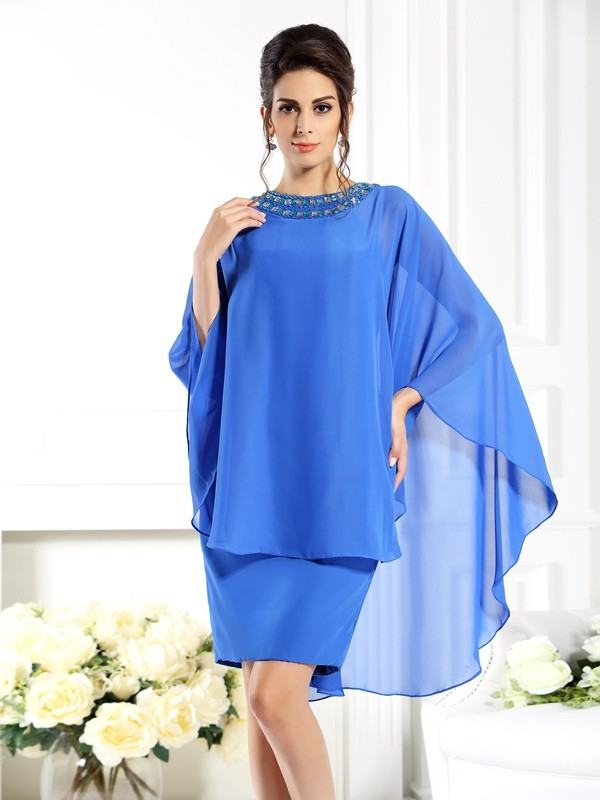 Sheath/Column Bateau 3/4 Sleeves Knee-Length Chiffon Mother of the Bride Dresses