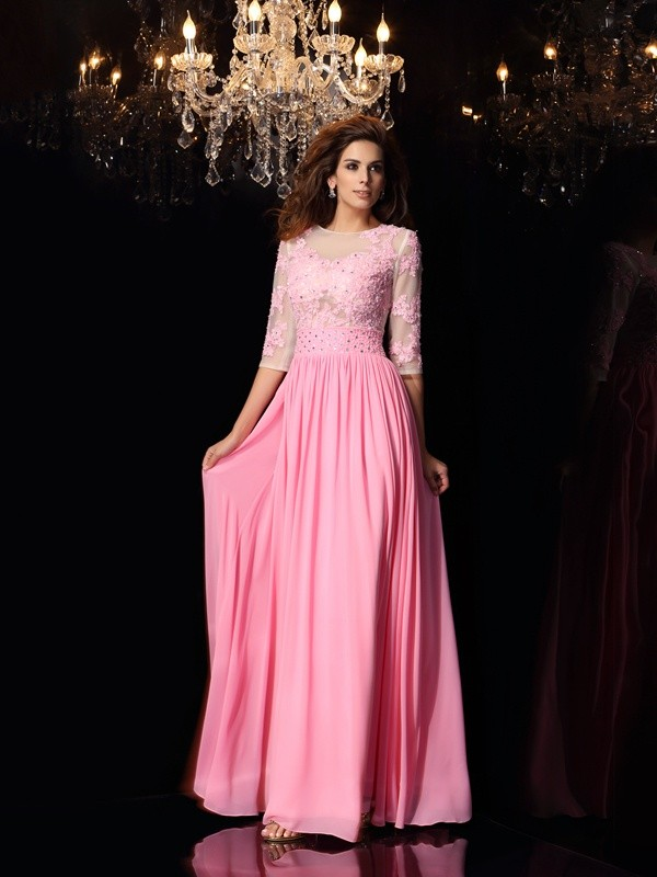 A-Line/Princess 1/2 Sleeves Silk like Satin Scoop Long Dresses with Applique