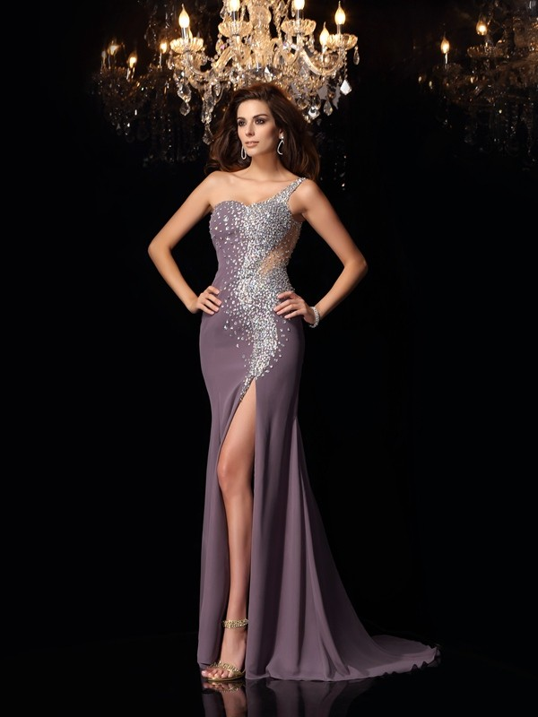 Trumpet/Mermaid Sleeveless Chiffon One-Shoulder Sweep/Brush Train Dresses with Rhinestone