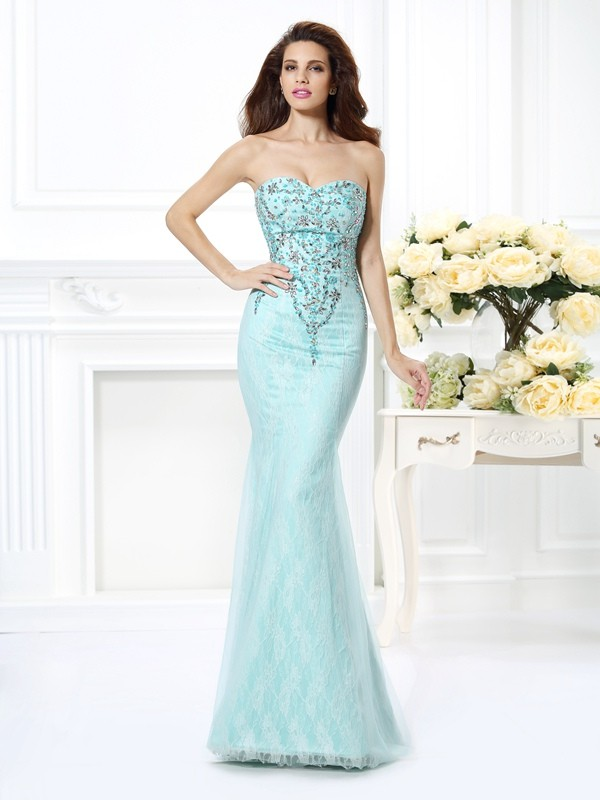 Trumpet/Mermaid Sweetheart Sleeveless Lace Floor-Length Net Prom/Evening Dresses with Beading