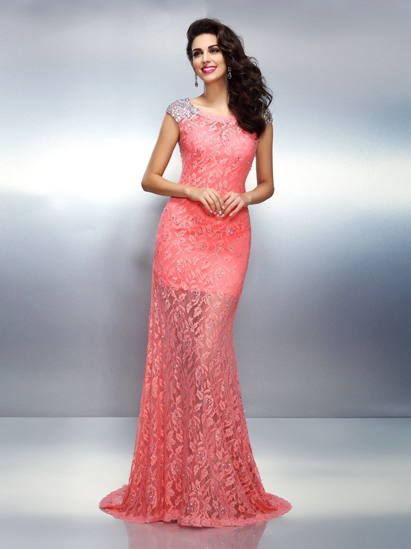 Trumpet/Mermaid Bateau Sleeveless Sweep/Brush Train Satin Prom/Evening Dresses with Beading