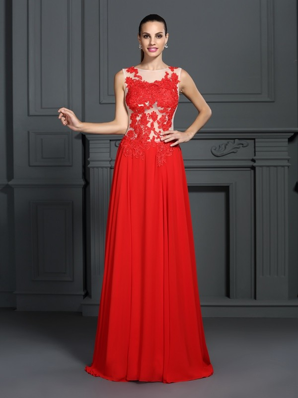A-Line/Princess Bateau Sleeveless Sweep/Brush Train Chiffon Dresses with Applique