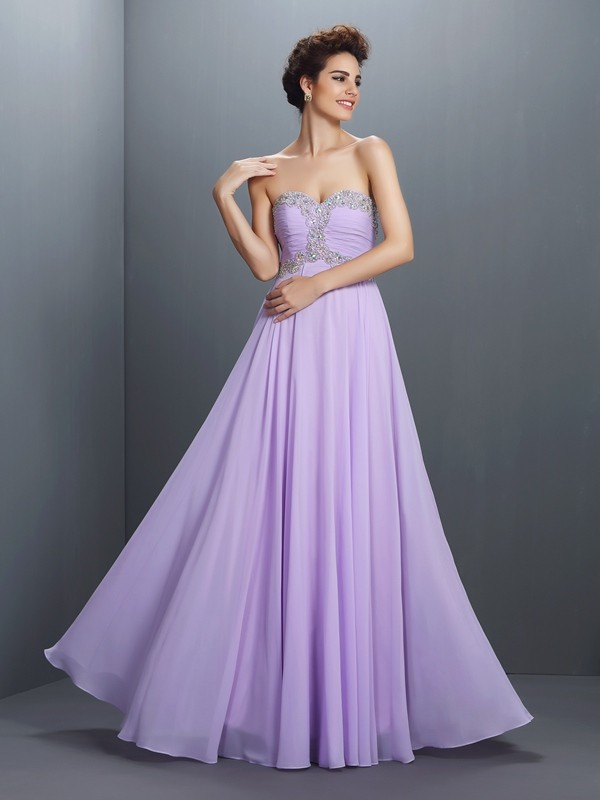 A-Line Sweetheart Sleeveless Floor-Length Chiffon Prom Dresses with Beading
