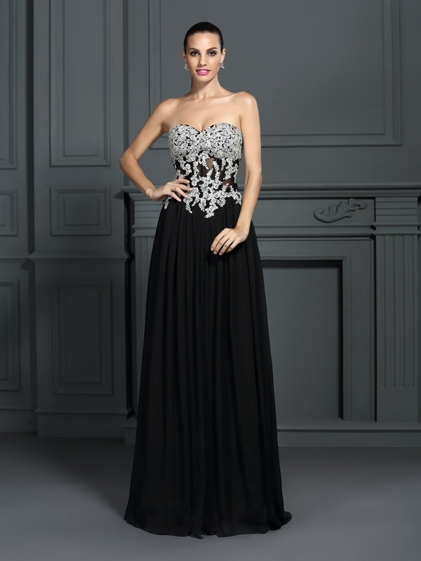 A-Line/Princess Sweetheart Sleeveless Floor-Length Chiffon Prom/Evening Dresses with Applique