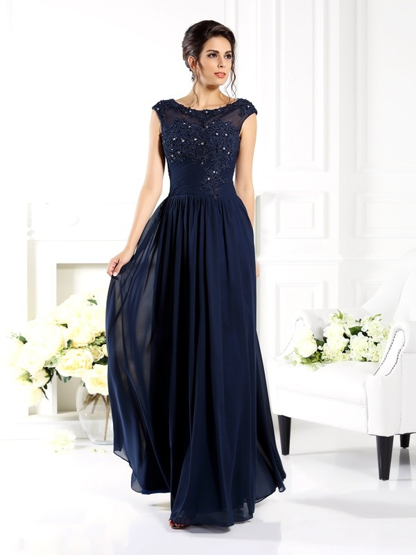 A-Line Scoop Floor-Length Chiffon Dresses with Beading