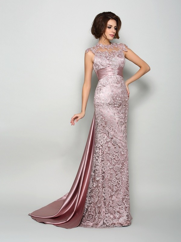 A-Line/Princess Sleeveless Elastic Woven Satin High Neck Court Train Mother of the Bride Dresses