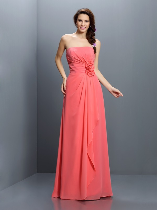 A-Line/Princess Chiffon Long Bridesmaid Dresses with Hand-Made Flower
