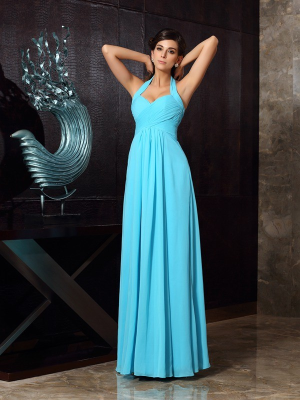 A-Line/Princess Halter Sleeveless Chiffon Floor-Length Prom Dresses with Pleats