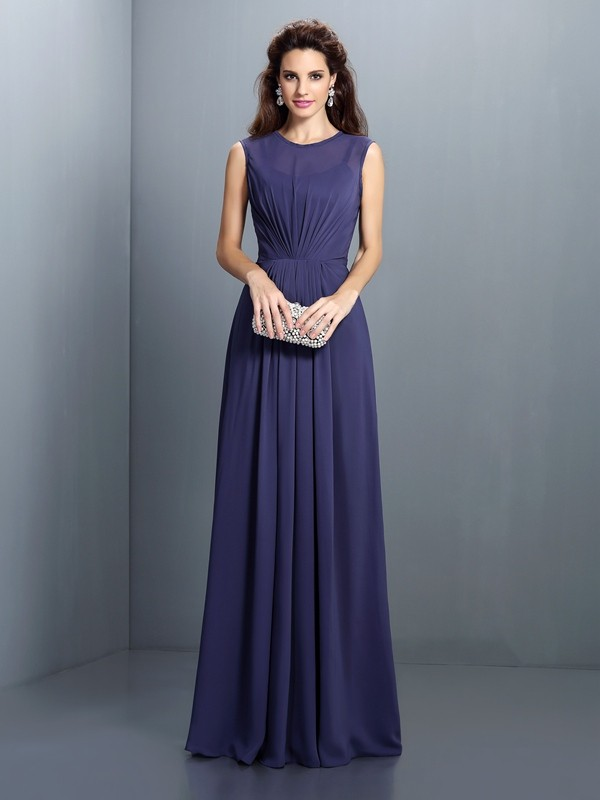 A-Line/Princess High Neck Sleeveless Floor-Length Chiffon Dresses with Pleats