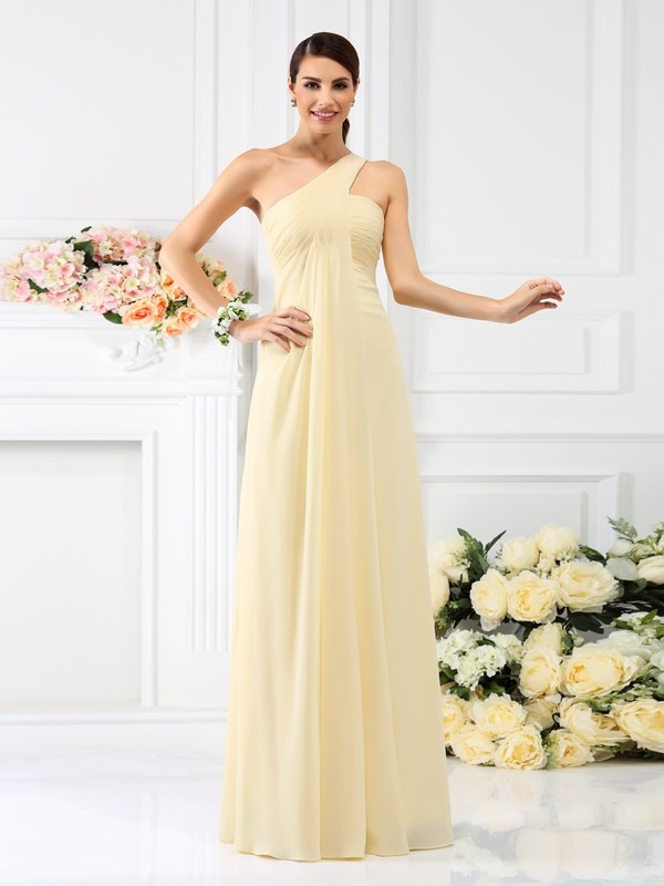 Chiffon One-Shoulder Long Bridesmaid Dresses with Pleats