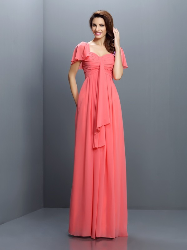 A-Line/Princess Sweetheart 1/2 Sleeves Floor-Length Chiffon Bridesmaid Dresses with Pleats