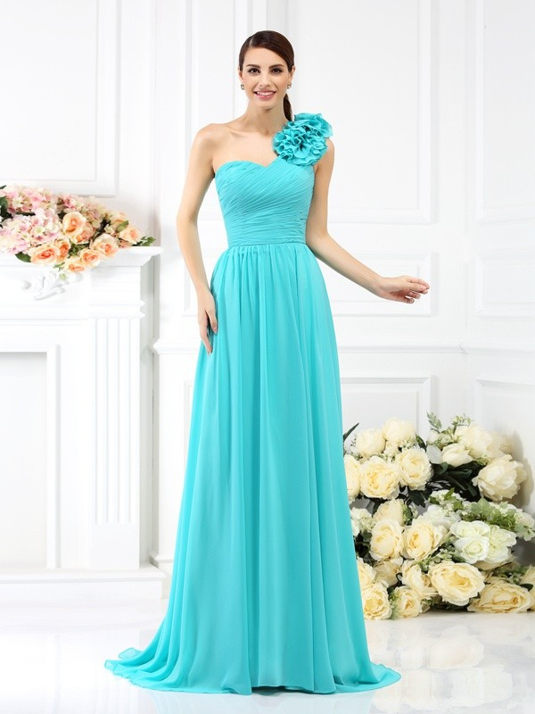 A-Line/Princess One-Shoulder Sleeveless  Sweep/Brush Train Chiffon Bridesmaid Dresses with Hand-Made Flower Pleats