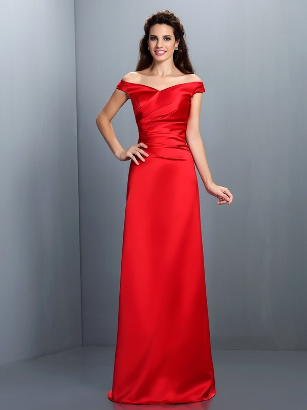Sheath/Column Off-the-Shoulder Sleeveless Floor-Length Chiffon Dresses