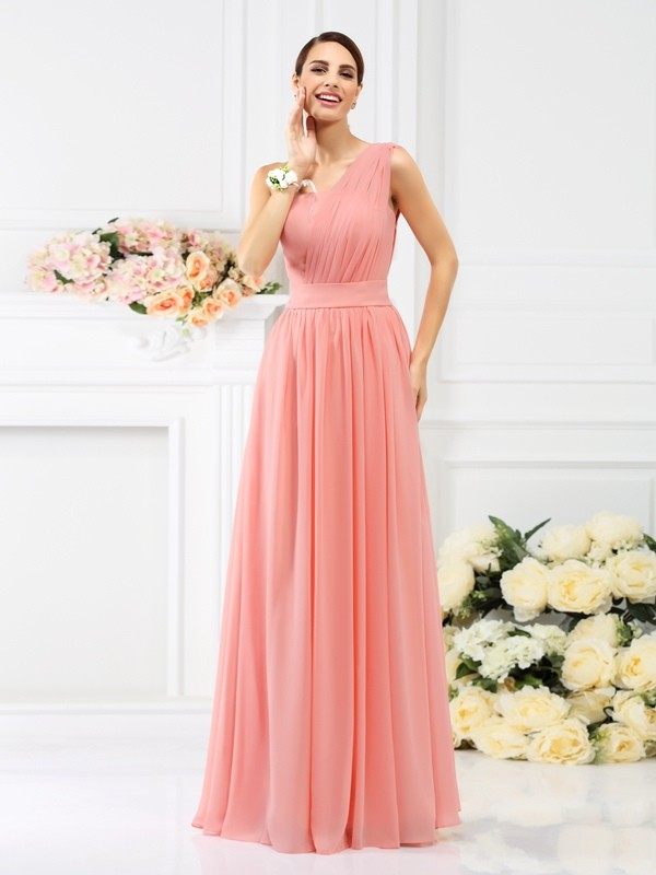 One-Shoulder Sleeveless Floor-Length Chiffon Bridesmaid Dresses with Pleats