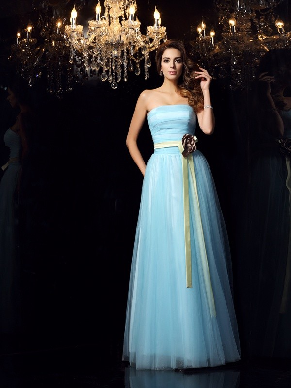 Ball Gown Sleeveless Strapless Satin Floor-Length Prom Dresses with Sash/Ribbon/Belt