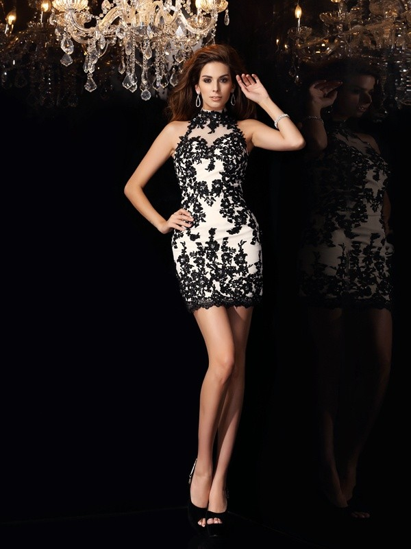 Sheath/Column High Neck Chiffon Sleeveless Short Cocktail/Homecoming Dresses with Applique with Beading