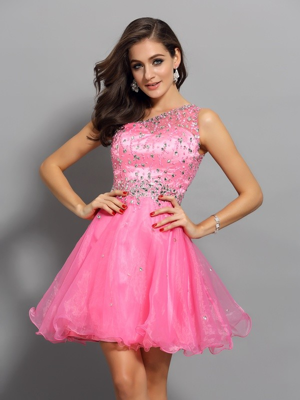 A-Line/Princess One-Shoulder Organza Sleeveless Short Cocktail/Homecoming Dresses with Ruffles