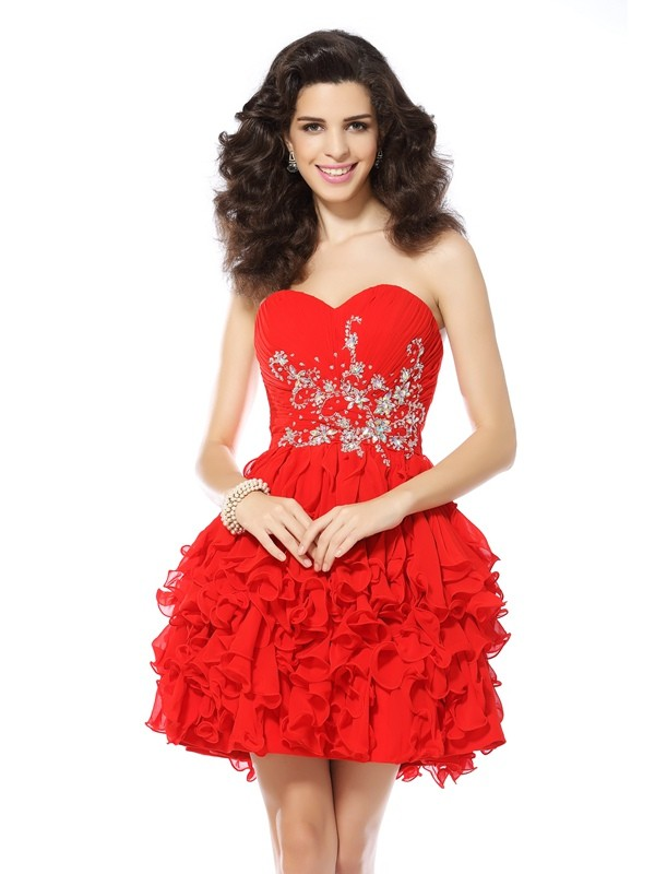 A-Line Chiffon Short Cocktail/Homecoming Dresses with Beading