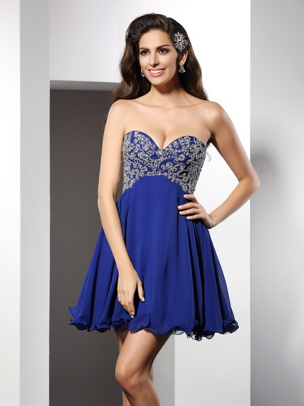 A-Line/Princess Sweetheart Sleeveless Chiffon Short Cocktail/Homecoming Dresses with Ruffles