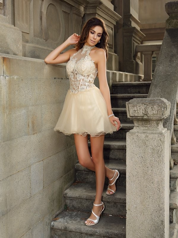 A-Line/Princess High Neck Sleeveless Tulle Short/Mini Dresses with Ruffles