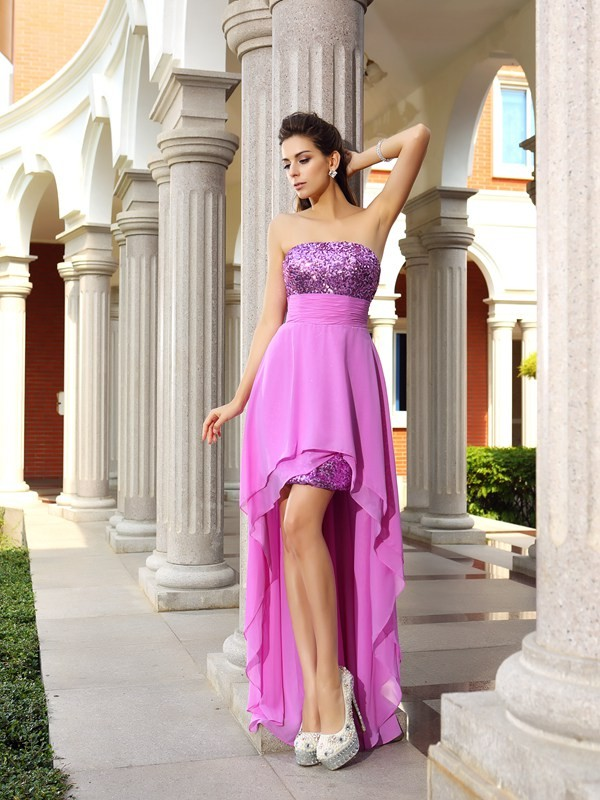 A-Line/Princess Sleeveless Strapless Chiffon Asymmetrical Dresses with Beading
