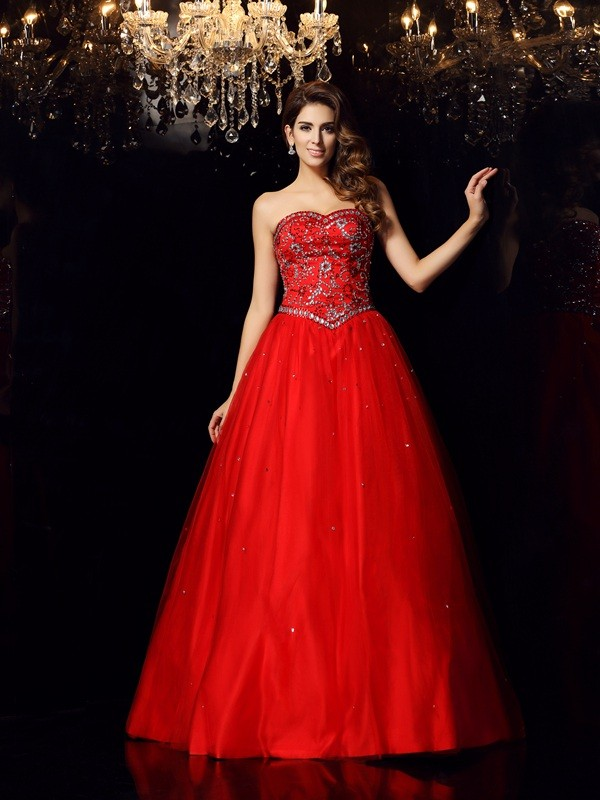 Ball Gown Sweetheart Sleeveless Satin Floor-Length Prom Dresses with Beading
