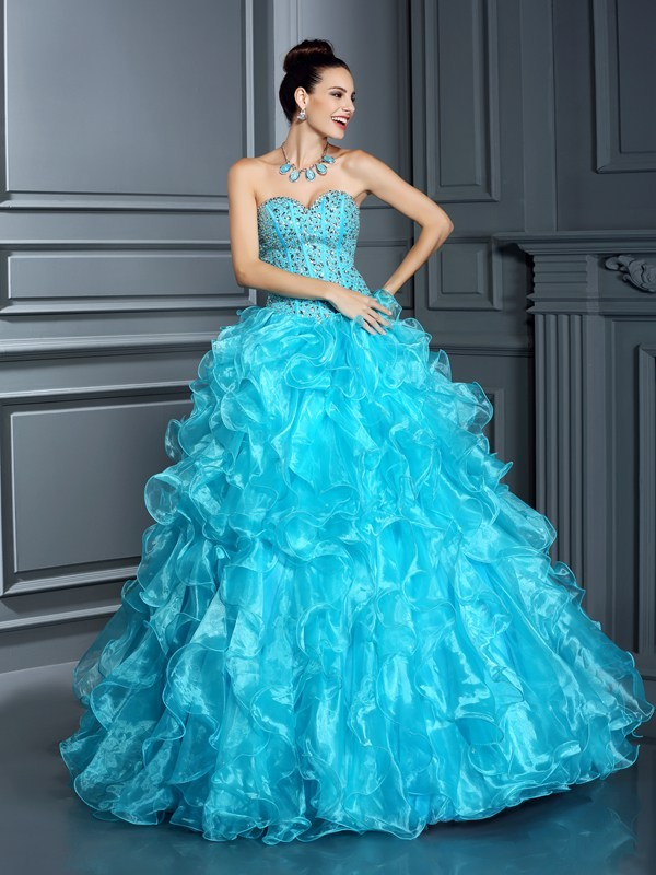 Ball Gown Sweetheart Sleeveless Floor-Length Organza Quinceanera Dresses with Beaded