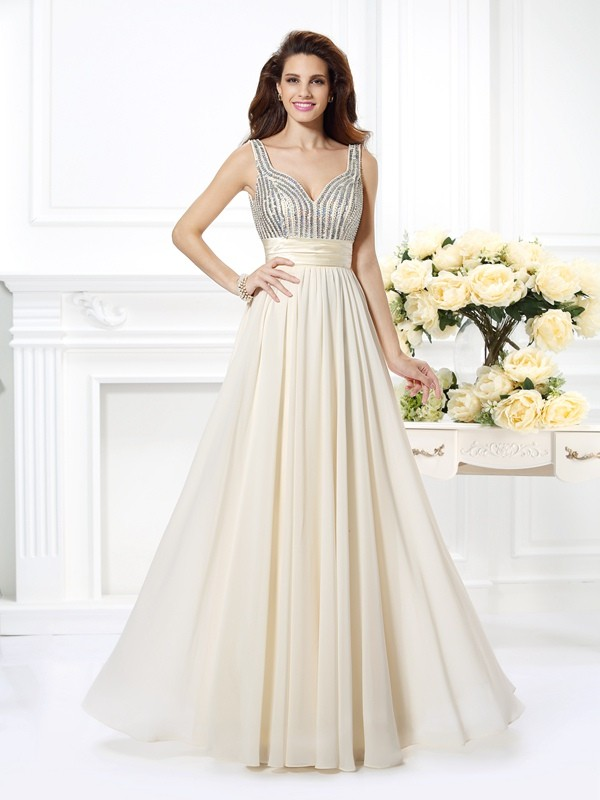 A-Line/Princess Straps Sleeveless Floor-Length Chiffon Prom/Evening Dresses with Beading