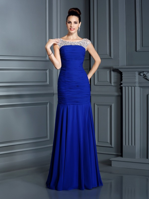 Trumpet/Mermaid Scoop Sleeveless Floor-Length Chiffon Dresses with Beading