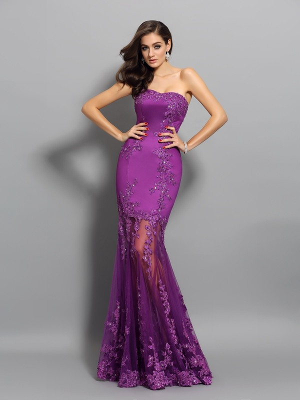 Trumpet/Mermaid Sleeveless Sweetheart Chiffon Long Prom/Evening Dresses with Applique with Beading