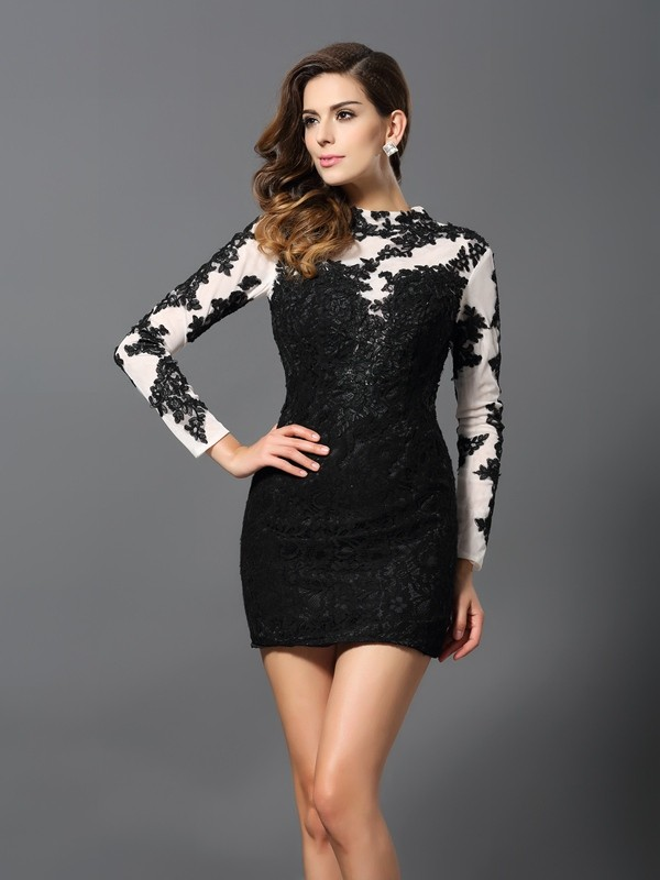 Sheath/Column High Neck Long Sleeves Lace Short/Mini Dresses with Applique