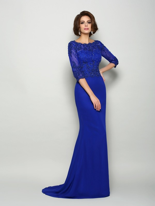 Trumpet/Mermaid Scoop 3/4 Sleeves Chiffon Sweep/Brush Train Mother of the Bride Dresses with Beading