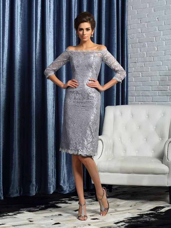 Sheath/Column Off-the-Shoulder Satin 1/2 Sleeves Knee-Length Lace Mother of the Bride Dresses
