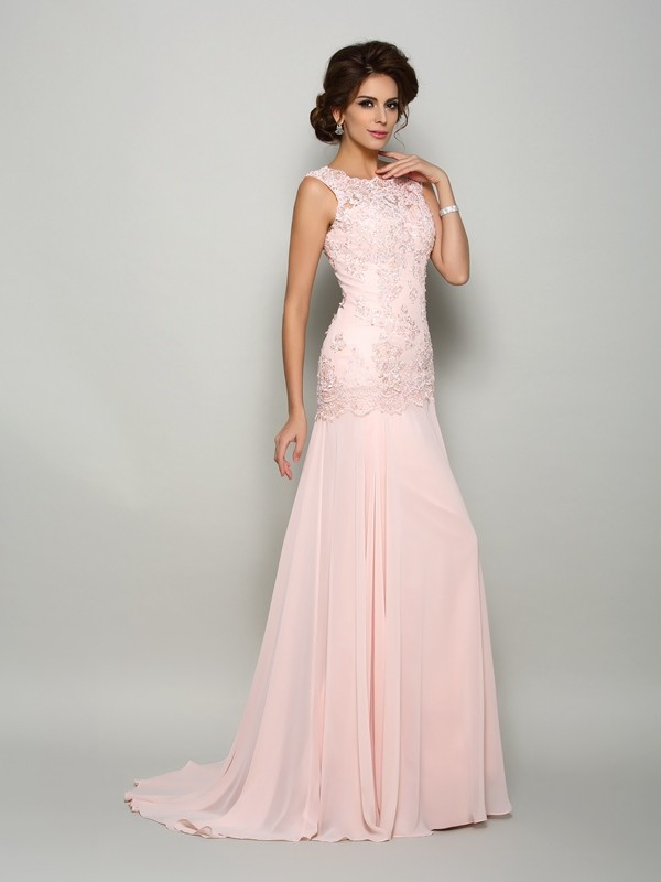 Trumpet/Mermaid Scoop Sleeveless Sweep/Brush Train Chiffon Mother of the Bride Dresses with Beading