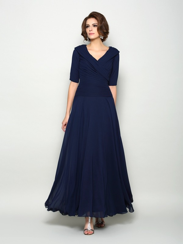 A-Line/Princess 1/2 Sleeves V-neck Ankle-Length Chiffon Mother of the Bride Dresses