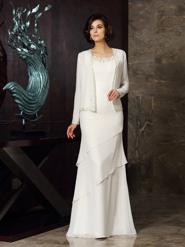 Sheath/Column Scoop Sleeveless Chiffon Floor-Length Mother of the Bride Dresses with Beading