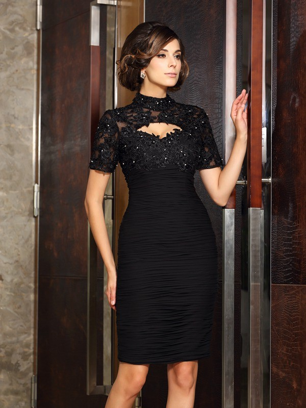 Sheath/Column Short Sleeves High Neck Knee-Length Chiffon Mother of the Bride Dresses with Beading