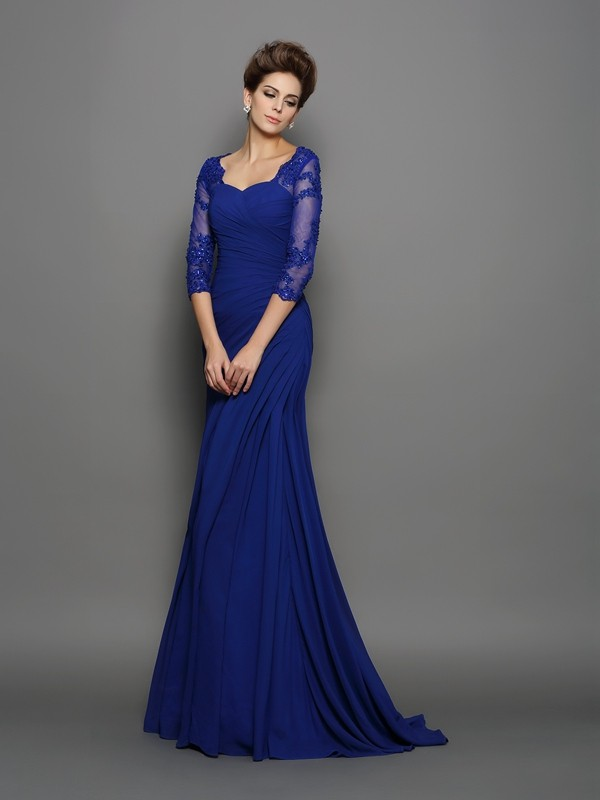 Trumpet/Mermaid Sweetheart 3/4 Sleeves Sweep/Brush Train Chiffon Mother of the Bride Dresses with Ruched