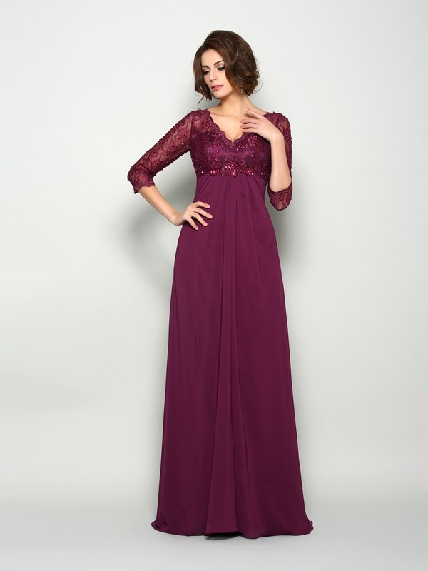 A-Line/Princess 3/4 Sleeves V-neck Sweep/Brush Train Chiffon Mother of the Bride Dresses with Beading